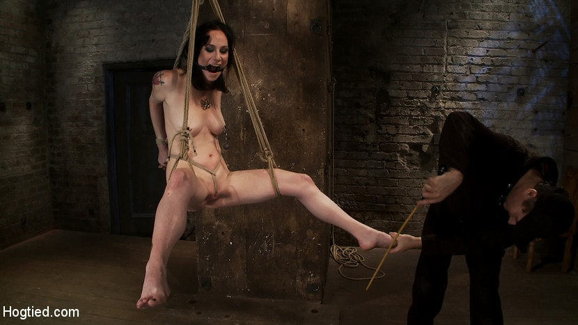 Kink 'Brutal Elbow and crotch rope suspension. Caned, severely flogged and made to cum, left to suffer.' starring Scarlet Faux (Photo 5)