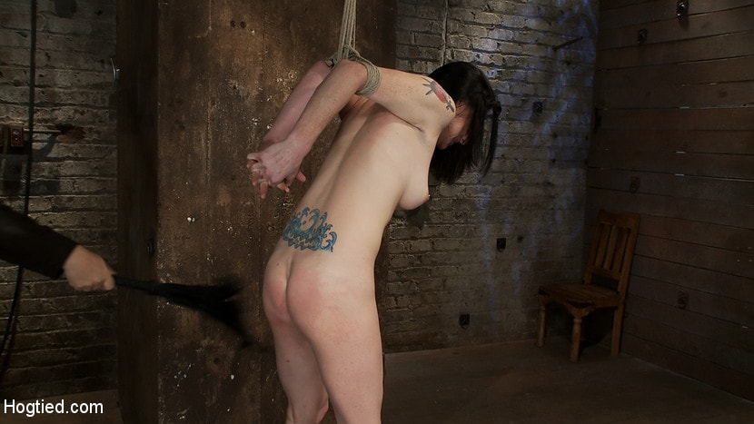 Kink 'Brutal Elbow and crotch rope suspension. Caned, severely flogged and made to cum, left to suffer.' starring Scarlet Faux (Photo 10)