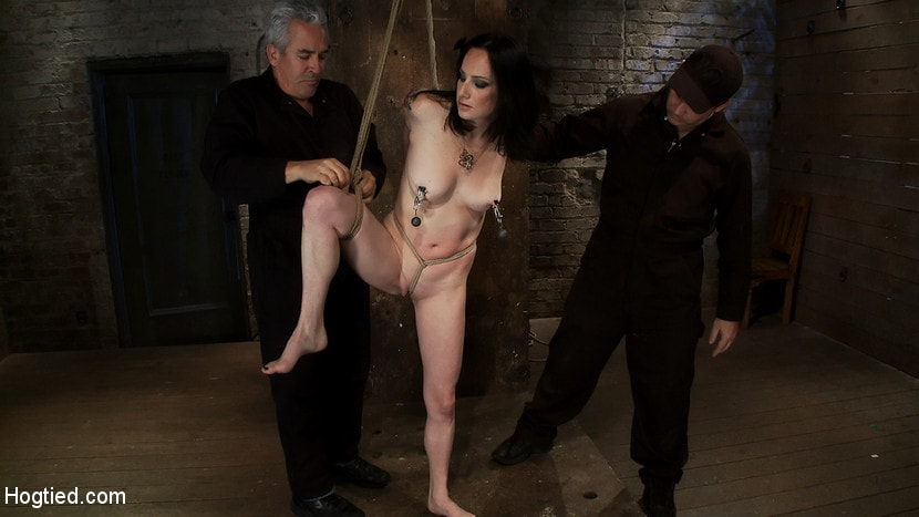 Kink 'Brutal Elbow and crotch rope suspension. Caned, severely flogged and made to cum, left to suffer.' starring Scarlet Faux (Photo 14)