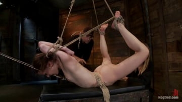 Sensi Pearl - Severely bound into a brutal hogtie and pulled to the breaking point Made to cum over and over!