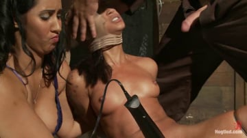 Skin Diamond - Bound with brutal black rubber bands They dig in and constrict, skin is made to squirt and suck cock.
