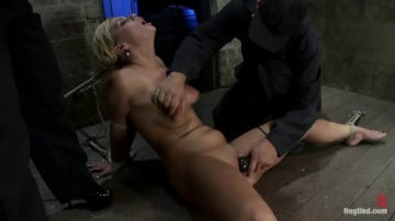 Tara Lynn Foxx - Elbows bound, spread on the floor, made to cum over and over Crotch rope double bind. Ouchy!