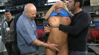 Leya Falcon in 'Busty Blonde Defiled in Public. Pretty Hair Used to mop up Oil'